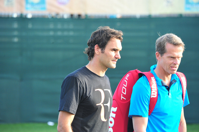 Indian Wells 2014: Roger Federer and Stefan Edberg