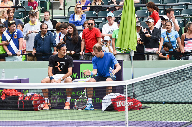 Miami Sony Open 2014: Roger Federer and Stefan Edberg at practice