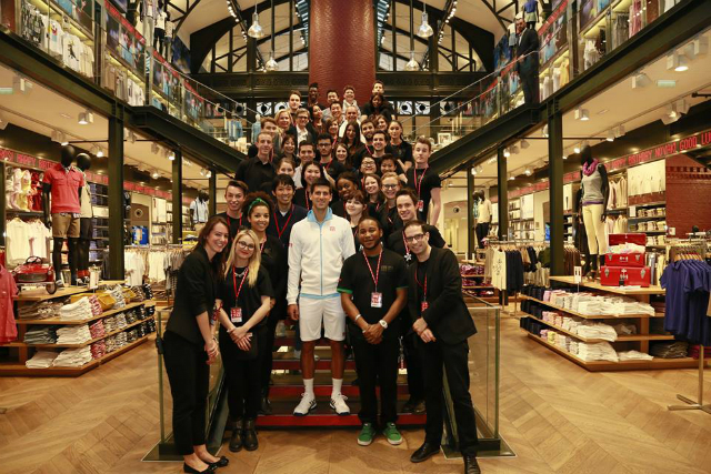 Novak Djokovic at Uniqlo Le Marais store