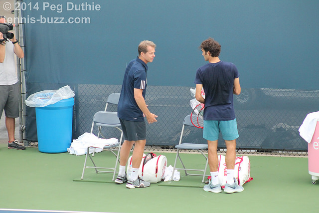 Federer, Edberg and Mahut at practice at the 2014 Western & Southern Open