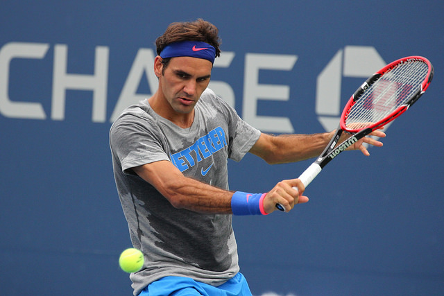 2014 US Open: Roger Federer at practice