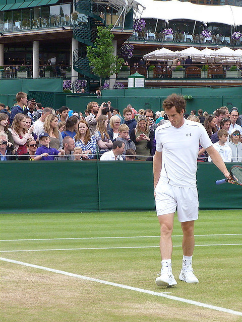Andy Murray at practice, Wimbledon 2015