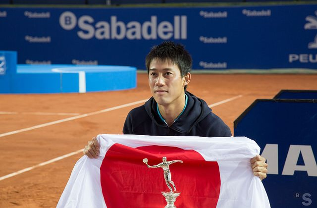 Kei Nishikori posing with the trophy, Barcelona Open 2015