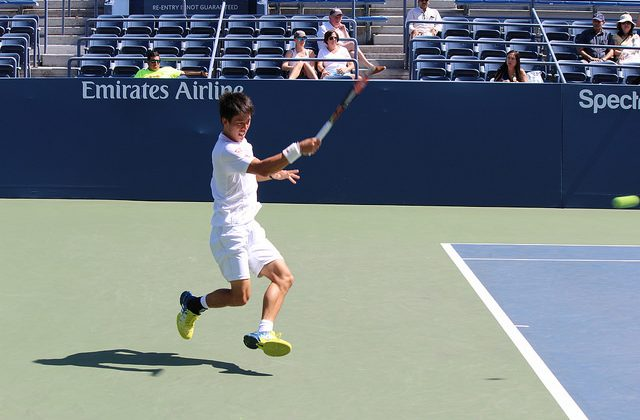 Kei Nishikori at practice, US Open 2016