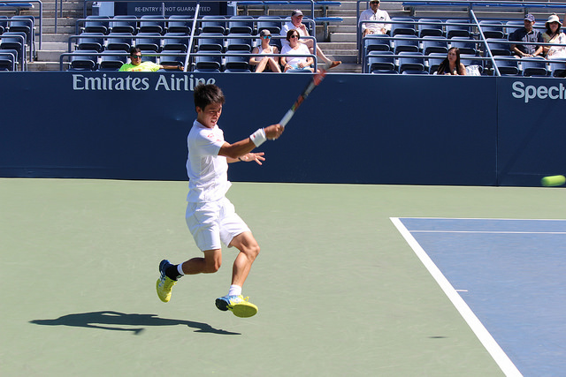 2016 US Open: Kei Nishikori at practice