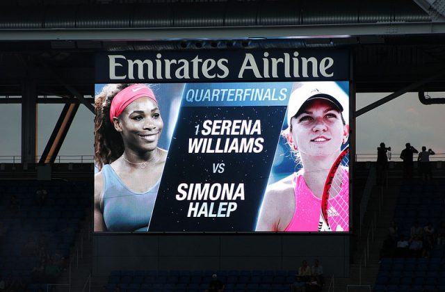 Serena Williams defeats Simona Halep at the 2016 US Open QF