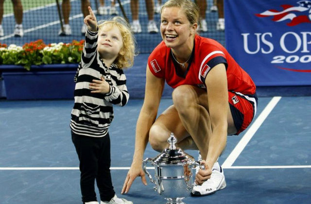 Kim Clijsters and her daughter, 2009 US Open