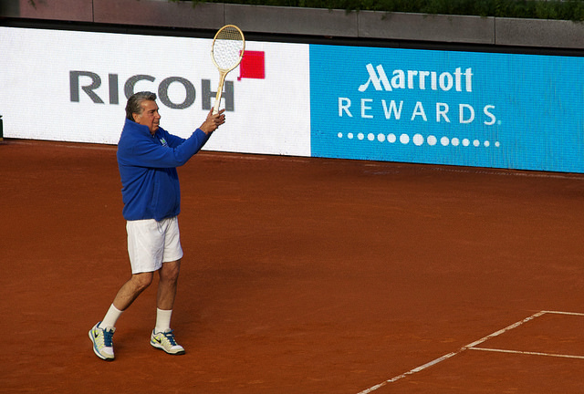 Former legends and wooden racquets in Madrid