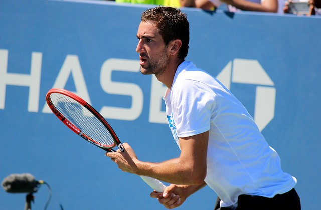Marin Cilic at practice, 2015 US Open