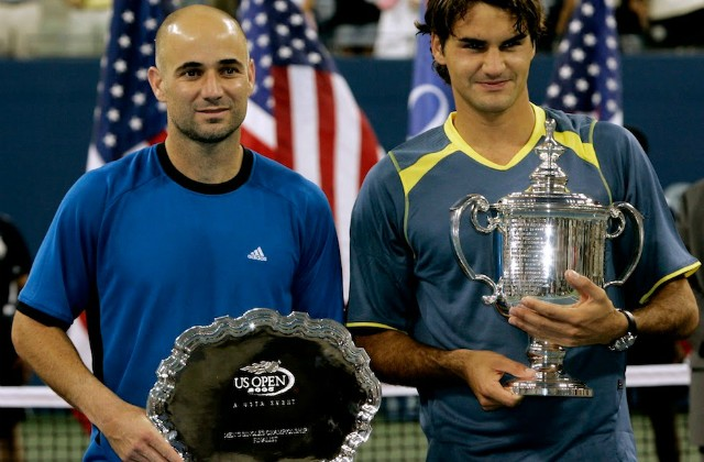 Andre Agassi and Roger Federer, 2005 US Open final