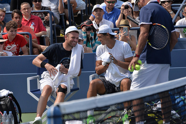 2015 US Open: Rafael Nadal and Mardy Fish at practice