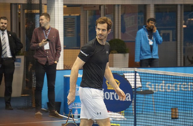 Andy Murray at practice, ATP Finals 2015