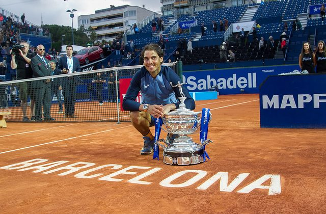 Rafael Nadal posing with the trophy, Barcelona Open 2016