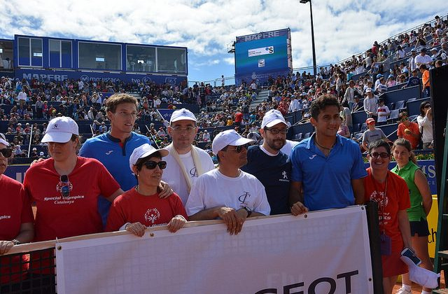 Special Olympic players hit balls at Peugeot Tennis Clinic