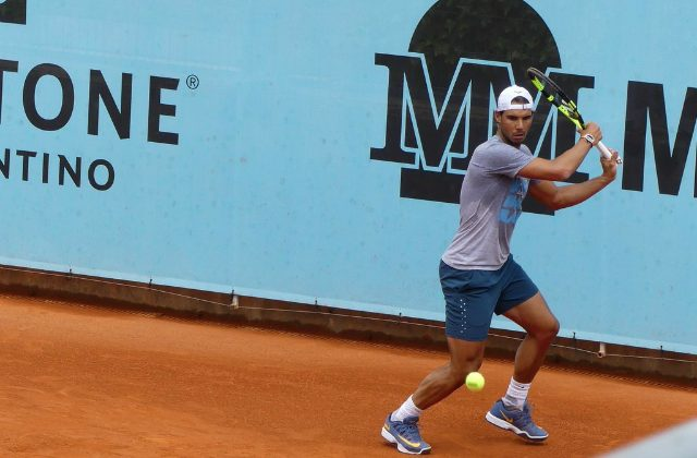 Rafael Nadal at practice, Madrid 2016