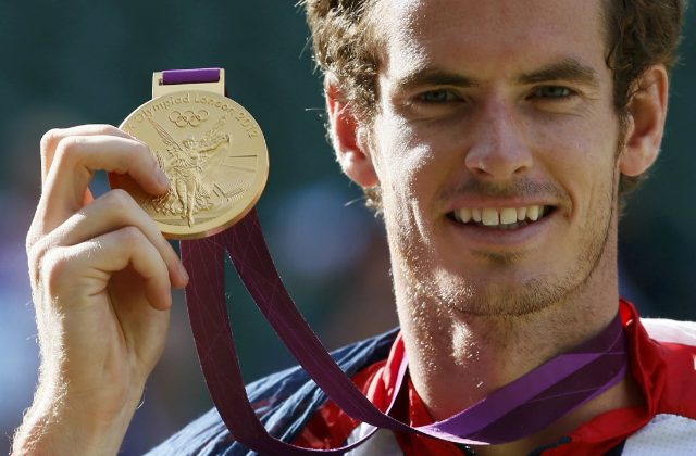 Andy Murray showing his gold medal, London 2012